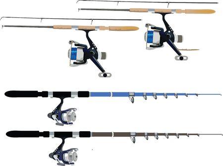 telescopic: ca�as de pescar y carretes Vectores