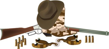 boots and hat with gun Illustration