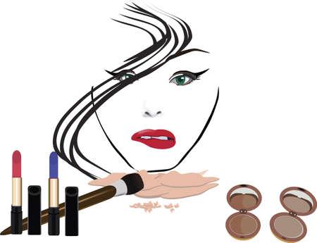 cosmetics with female figure