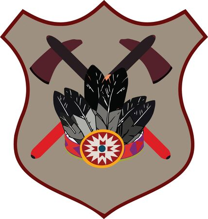 indian headdress: Indian headdress logo emblem and ax Illustration