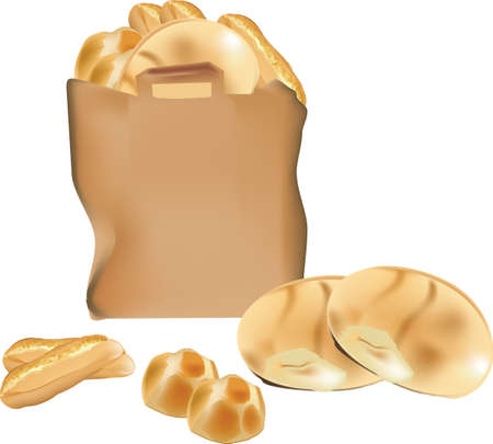 paper bag with bread Illustration