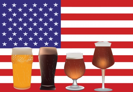 glasses of beer with American flag background