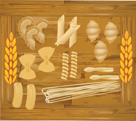 macarrones: tabl�n de madera var�a con pasta