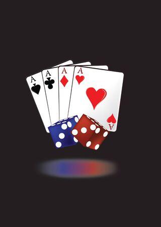 fortuna: carte da gioco con i dadi Illustration