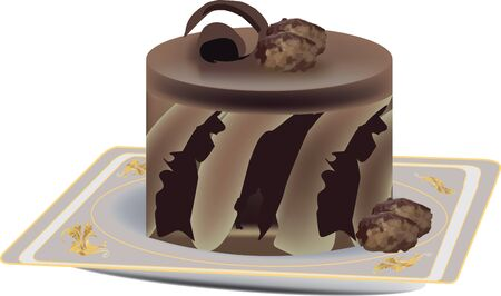 cake decorated with chocolate Vector