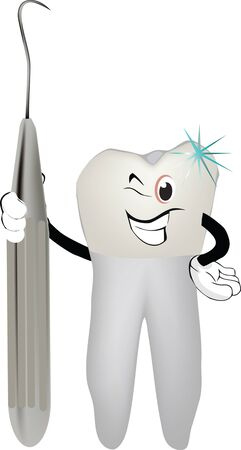 tooth with dental tool Vector
