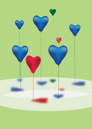 heartshaped:   ingleseitalianospagnolo  colored balloons heart-shaped Illustration