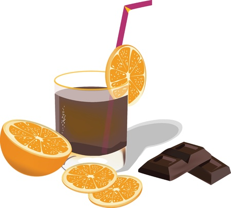 orange fruit and glass of chocolate Stock Vector - 16135513