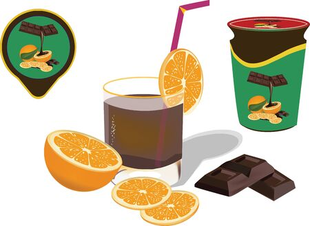 orange fruit and glass of chocolate Stock Vector - 16135514