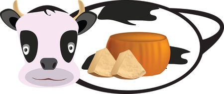 picture of cow with cheese Illustration