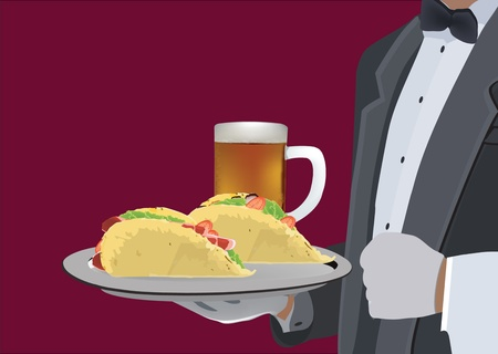 waiter service sandwich and beer Illustration