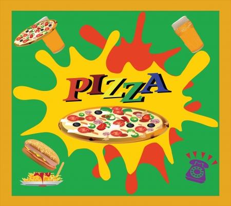 fast food pizzeria logo Vector