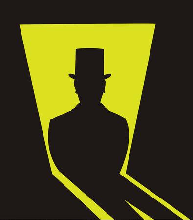 ombra scura della persona con il cappello