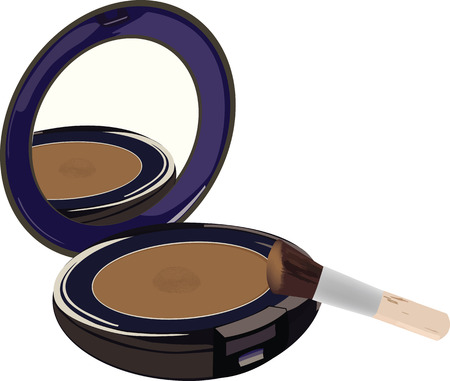 Cosmetic mirror brush and powder