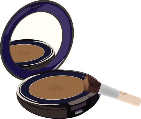 markup:  Cosmetic mirror brush and powder