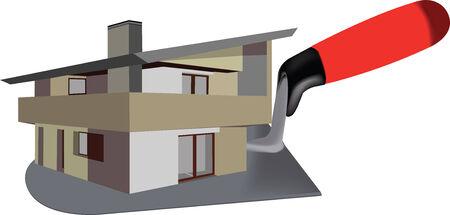 houses: logo villa construction and building trowel