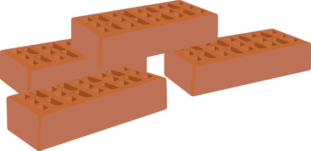 bricks for the construction and the building in terracotta Illustration