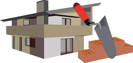 houses: logo construction equipment villa Illustration