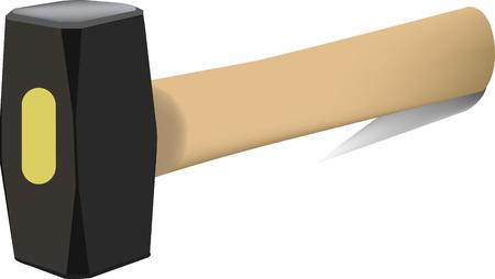 mallet hammer with handle lying Ilustração