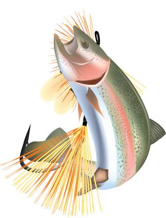 pretend: trout fish with artificial bait pretend