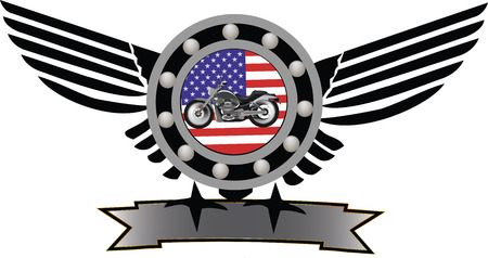 Biker gear symbol with American flag and mechanical motion Stock Vector - 25305959