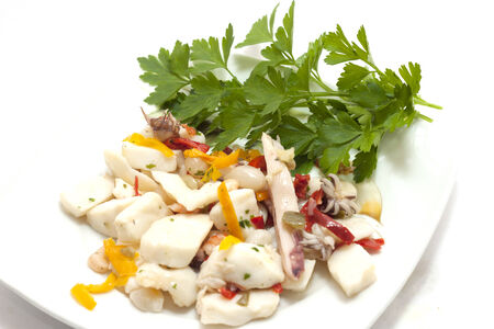 seafood dish seafood salad with peppers
