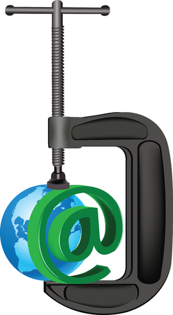 Sign symbol with earth clamp and Internet