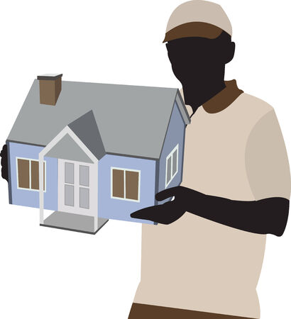 person with house model on hand for the move