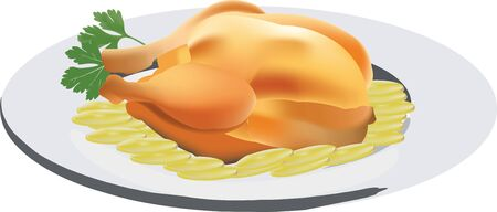 Roast chicken served on a plate with potatoes catering,
