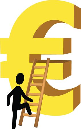 market value: Scale the euro little man climbs the ladder with the euro symbol climbing Illustration