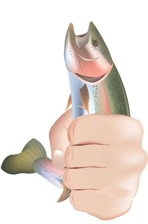 rainbow trout: Sport fishing symbol trout fishing with hand Illustration