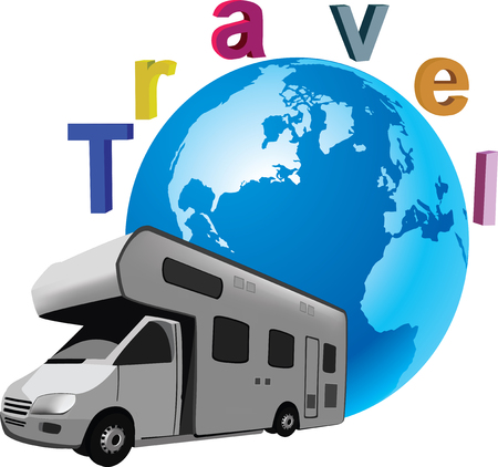 caravans: Four-wheel vehicle for camping and holiday campers and caravans traveling,