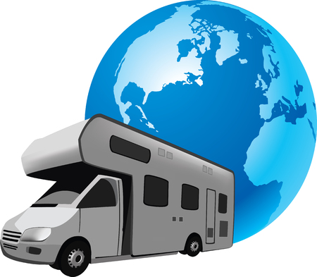 roadtrip: Four-wheel vehicle for camping and holiday campers and caravans traveling,