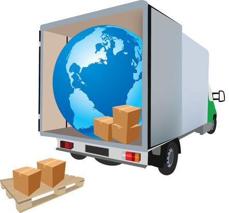 Van de transport et camionnette international des matières premières varie nationale et des déménagements Banque d'images - 39056742