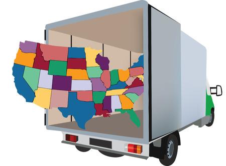 Van Transporte y camioneta internacional de productos básicos nacional varía y las mudanzas Foto de archivo - 39056743