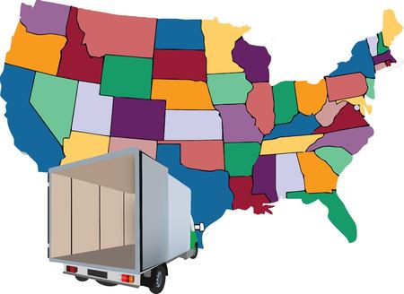 Van Transporte y camioneta internacional de productos básicos nacional varía y las mudanzas Foto de archivo - 39056745