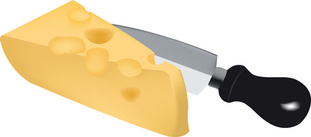 emmental: Piece of Swiss cheese and Dutch emmental for feeding Illustration