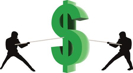 strife: Cifre manichini rivali si contendono il simbolo del dollaro Vettoriali