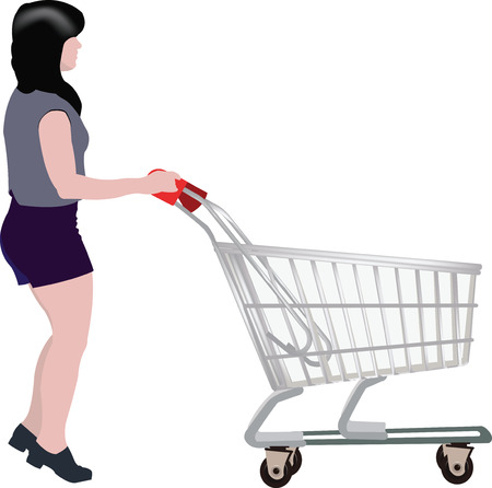 woman shopping cart: woman with shopping cart intent to shop
