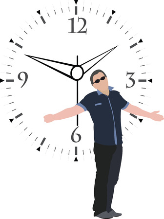 person with open arms impatient appointment Illustration