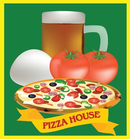 pizza ingredients: adhesive and pizza ingredients