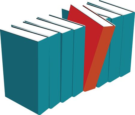 inequality: books standing in a row one out red differently