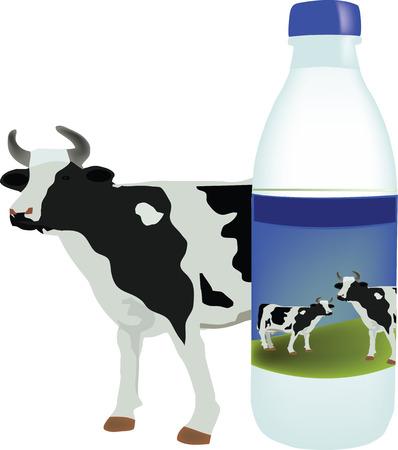 plastic container: bovine milk with plastic container