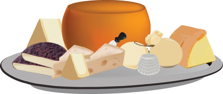 cheese mixed cow's milk cheese processing and maturing fresh and aged Stock Illustratie