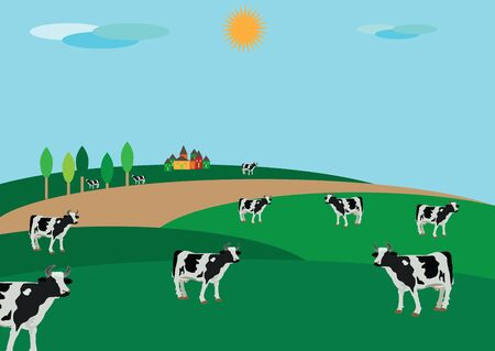 milk production: peasant countryside with grazing an Illustration