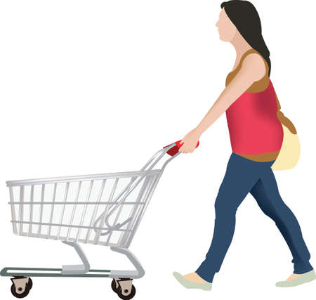 purchasing power: woman with a shopping cart That is quick to make purchases Illustration
