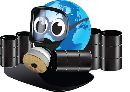 environmental disaster: Earth with gas mask cartoon