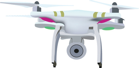 unmanned: small remote-controlled flying machine for photography and another drone Illustration