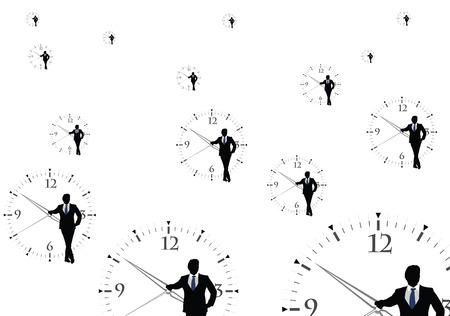 the beginnings: human figures with transparent clock