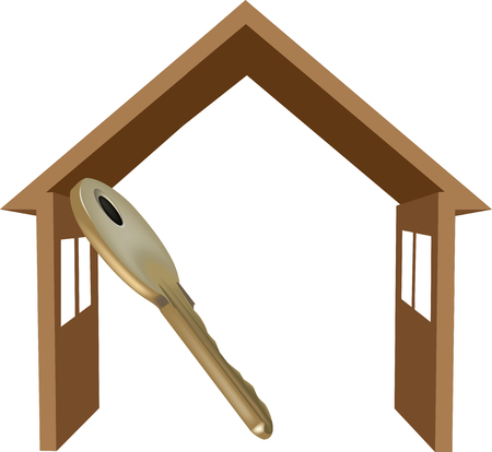 dwelling: symbol of dwelling house with the key to open it